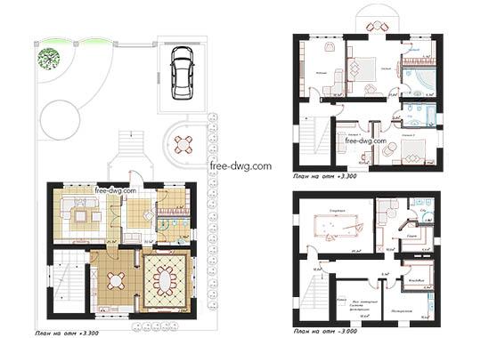 Дизайн проект интерьера дома - файл чертежа в формате DWG.