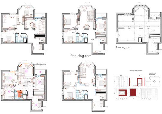 Дизайн проект интерьера квартиры - файл чертежа в формате DWG.