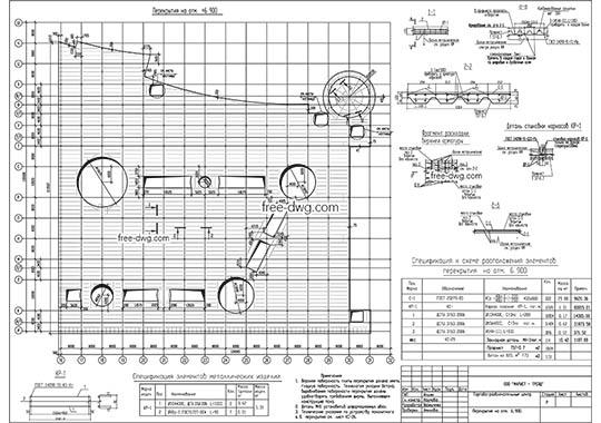Схема расположения элементов перекрытия в ТРЦ - бесплатный чертеж