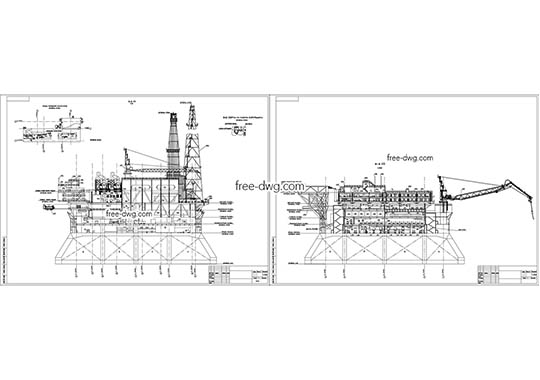 Нефтяная платформа - бесплатный чертеж