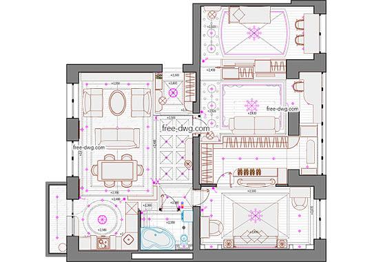 Дизайн квартиры - файл чертежа в формате DWG.