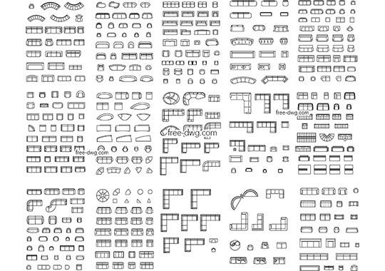 Мягкая мебель - файл чертежа в формате DWG.