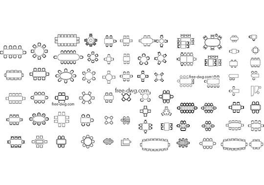 Столы обеденные - файл чертежа в формате DWG.