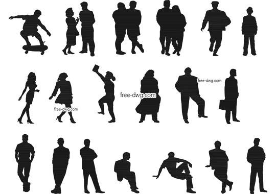 Силуэты людей - файл чертежа в формате DWG.