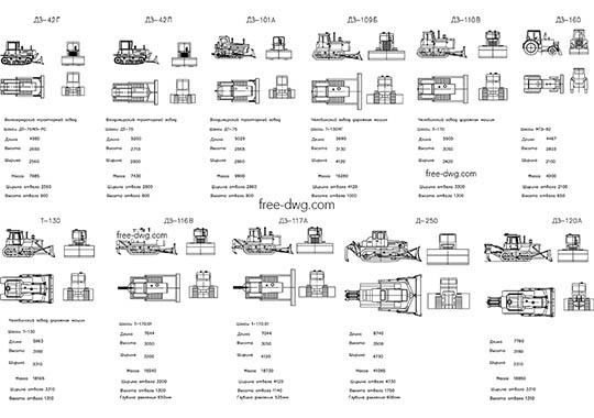 Бульдозеры - файл чертежа в формате DWG.