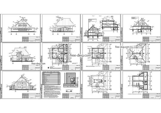 Двухэтажный коттедж - файл чертежа в формате DWG.