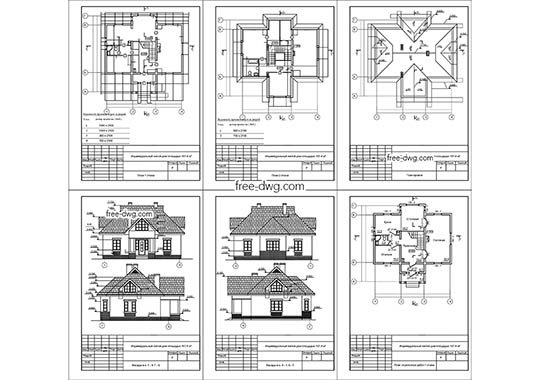 Жилой дом с мансардой - файл чертежа в формате DWG.